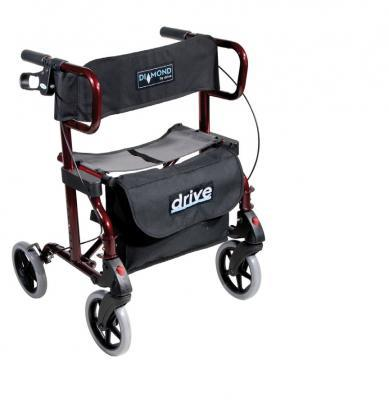 Rollator pliable transformable en chaise roulante